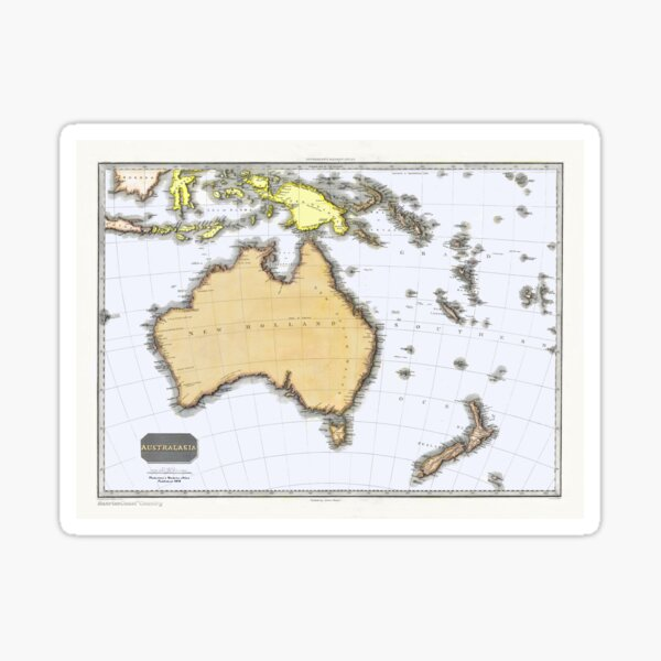 Antique Map of Australasia, Pinkerton, 1818 Sticker