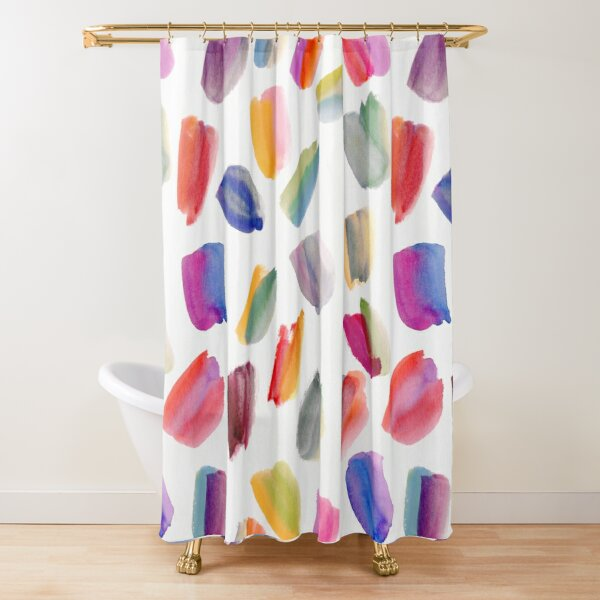 Watercolor Brush Strokes Shower Curtain