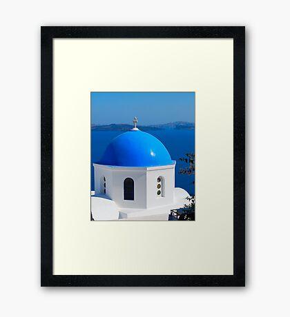 Oia Village Ancora, Satorini, Greece Framed Print