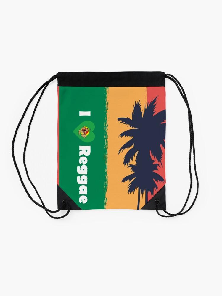 Alternate view of I love Reggae ! Drawstring Bag