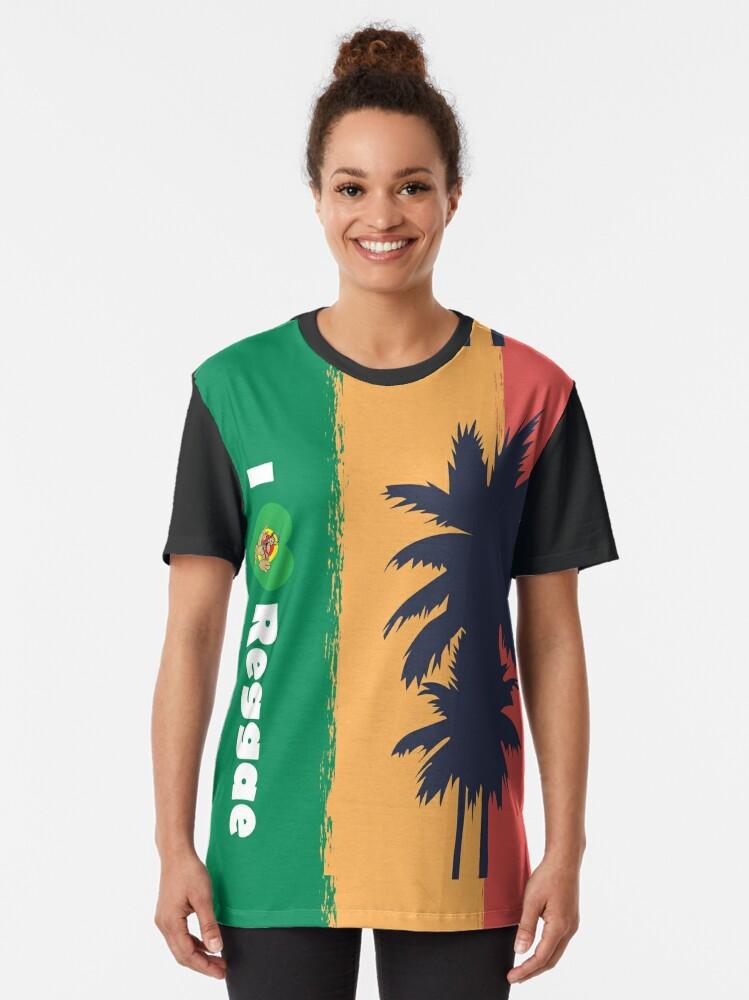 Alternate view of I love Reggae ! Graphic T-Shirt