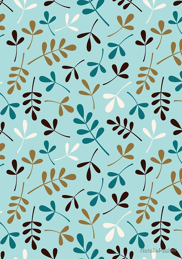 Assorted Leaf Silhouettes Teals Cream Brown Gold Ptn by NataliePaskell
