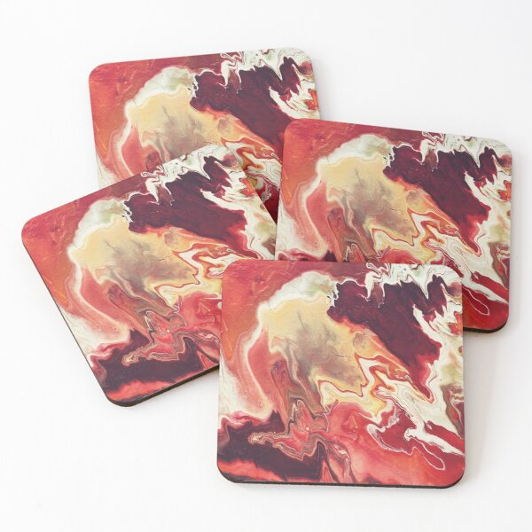 Red Purple Acrylic Pour Coasters (Set of 4)