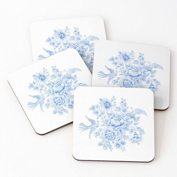 Chinoiserie Birds and Flowers, Asiatic Pheasant  Coasters (Set of 4)