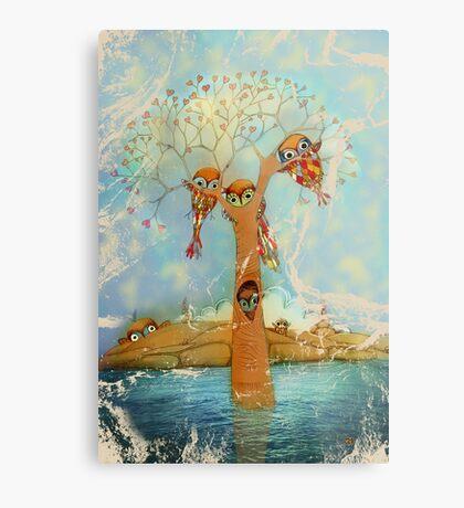 tree of love owls Metal Print