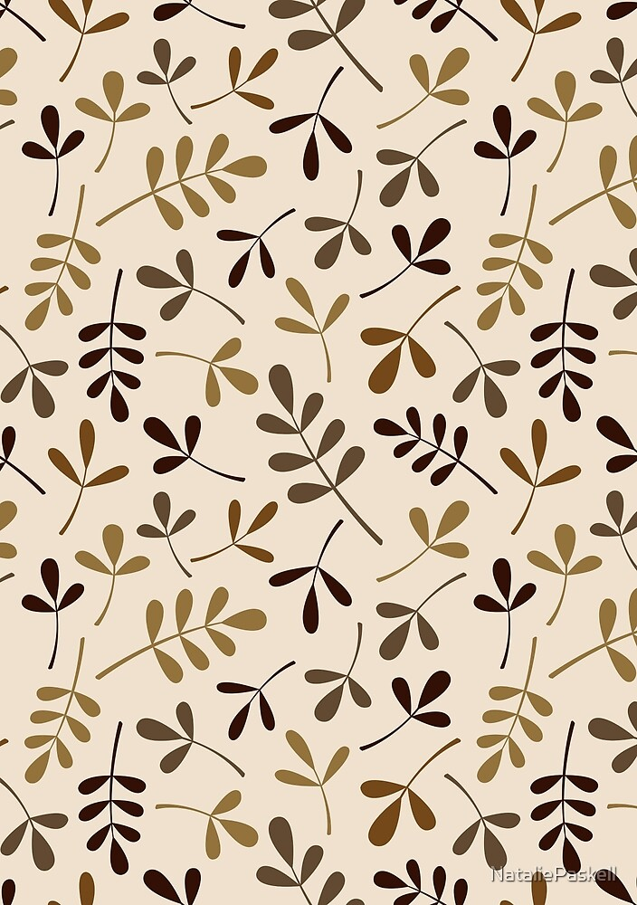 Assorted Leaf Silhouettes Gold Browns Cream Ptn by NataliePaskell