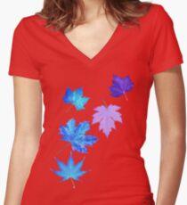 Nature - Inverted Leaf Women's Fitted V-Neck T-Shirt