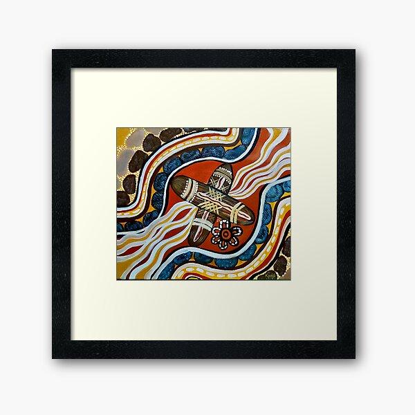 Authentic Aboriginal Art Clapstick Dreaming  Framed Art Print