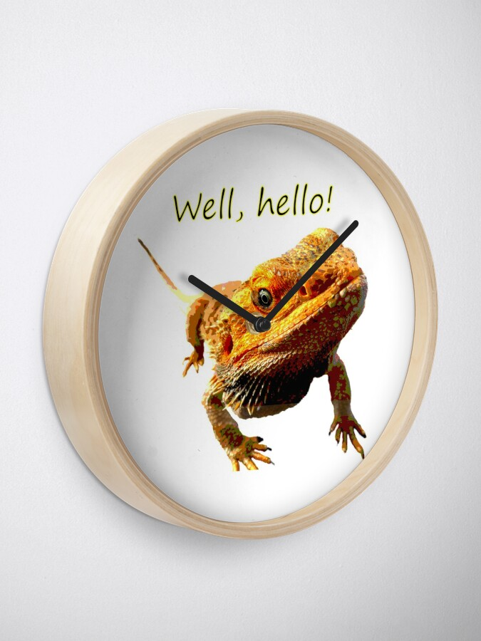 Alternate view of Bearded Dragon Says Hello Clock