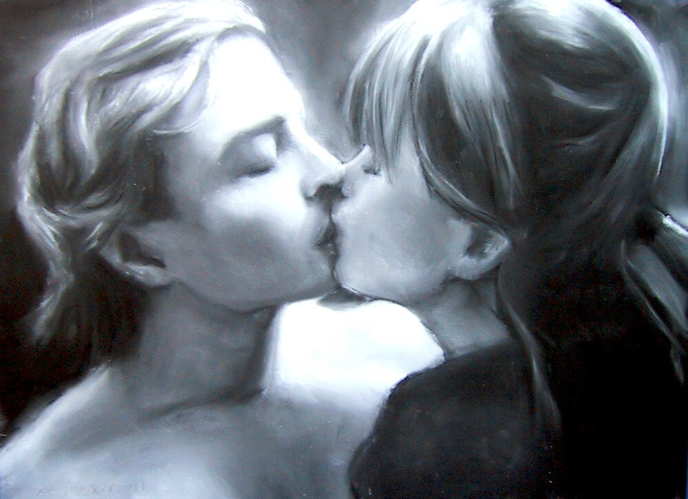 Paul Kissing Miss Polly (pastel and charcoal and chalk) by Paul Douglas Robertson