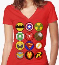 Superhero Symbol Women's Fitted V-Neck T-Shirt
