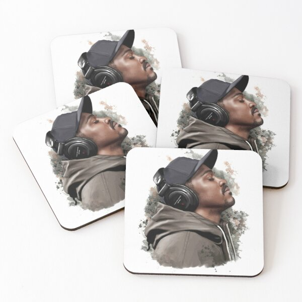 Music Lovers Drinks Coaster Music is my Love with Blue Earphones