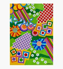 Color And Shapes With Squares And 2 Big Flowers - Brush And Gouache Photographic Print