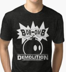 Bob-Omb Demolition White Tri-blend T-Shirt