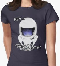 """""""Hey Who Turned Out The Lights"""" Womens Fitted T-Shirt"""
