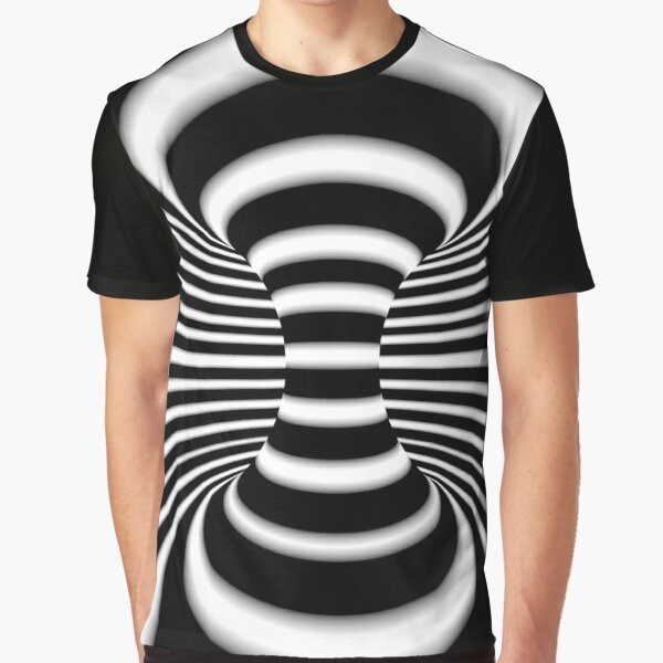 Black and White Infinite Wormhole Optical Illusion Graphic T-Shirt