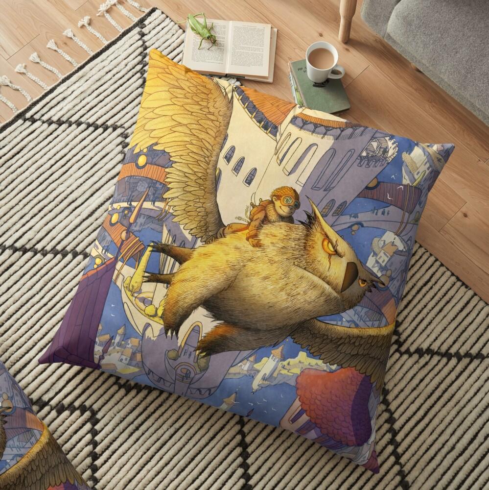 The spiral city Floor Pillow