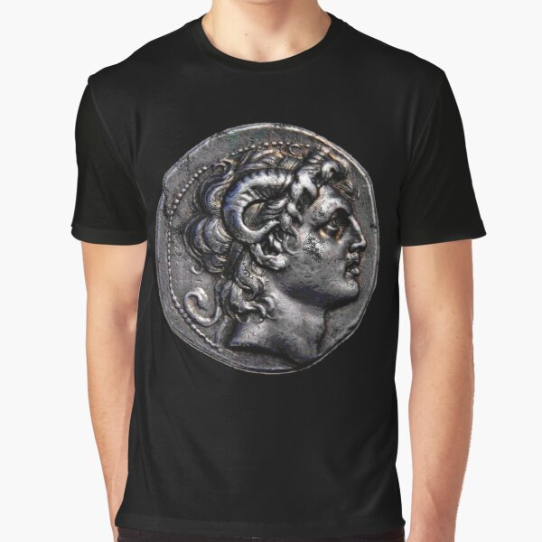 Alexander the Great Head Ancient Greece Coin Design Graphic T-Shirt