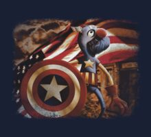 'Fuzzy & Red, White & Blue' (Grover / Captain America)