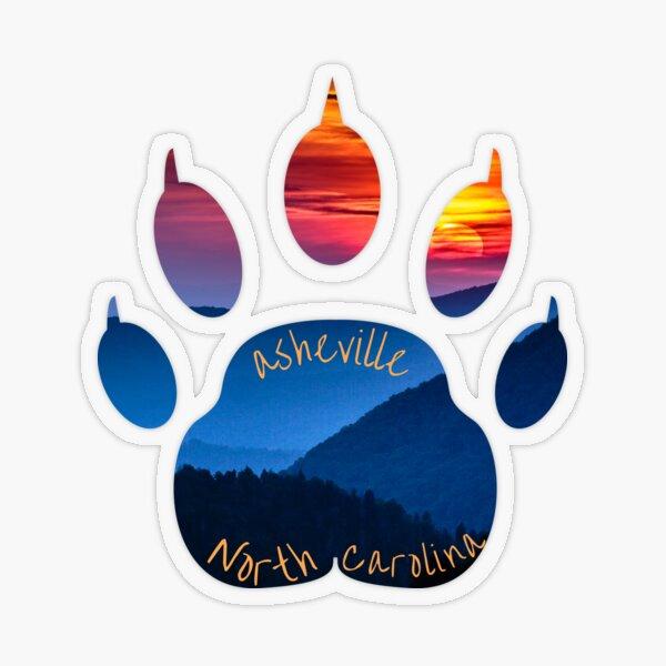 Asheville NC Bear Paw Sunset Mountains  Transparent Sticker