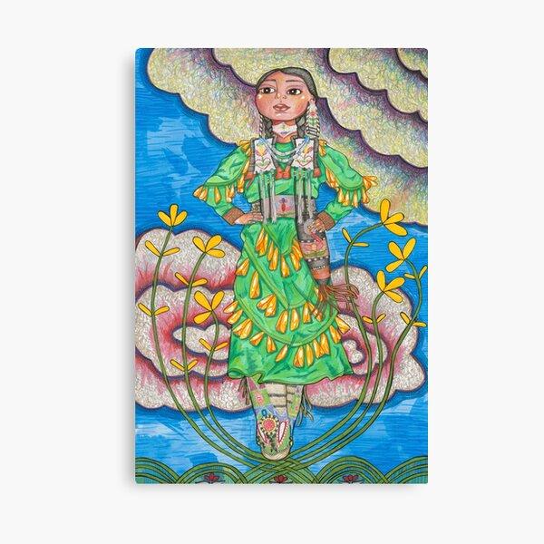 Illustrated Native American Indigenous Female Jingle Dress Dancer Canvas Print