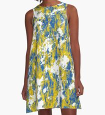 Blue and gold rust A-Line Dress