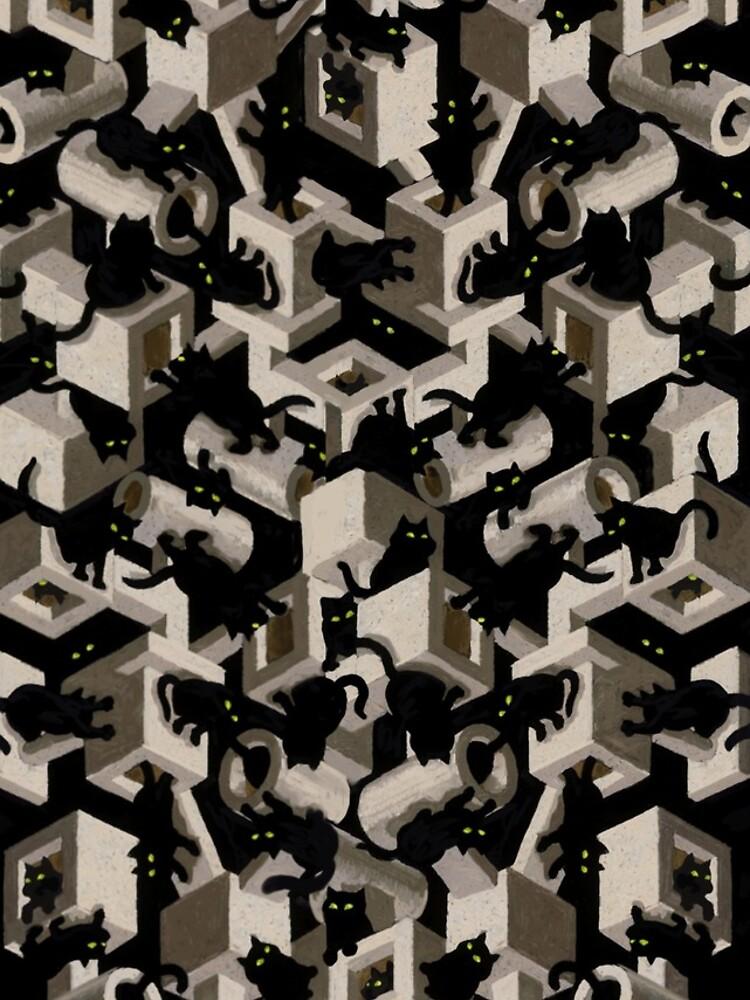 black cat tree optical illusion by stevesack