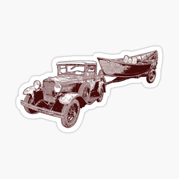 Old School Pick Up & Wood Driftboat Sticker