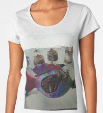 Camiseta premium de cuello ancho Pegatinas de peces, colores