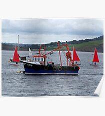 Fishing Boat and Sailing Boats  Poster