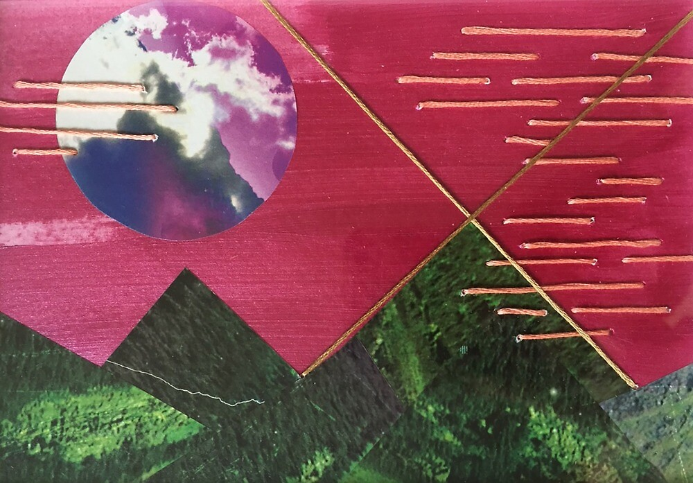 """landscape collage inspired by geometry and nature desktop art """"mountain night"""" perfect small gift original art thread green framed by saracannon"""