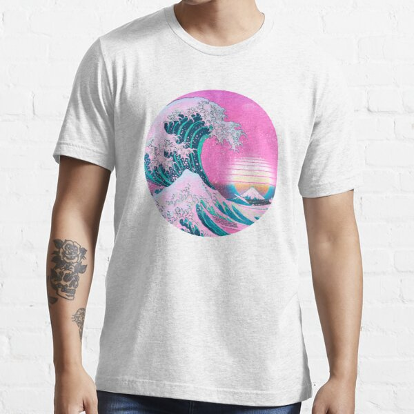 Vaporwave Great Wave Off Kanagawa Aesthetic Retro Sunset Essential T-Shirt