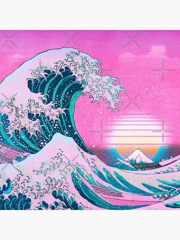 Vaporwave Aesthetic Great Wave Off Kanagawa Retro Sunset by CoitoCG