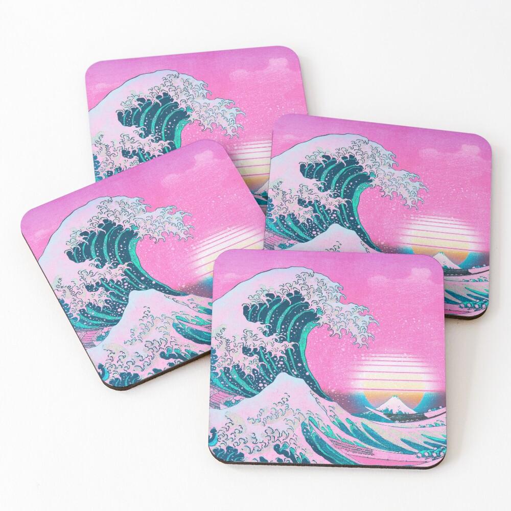 Vaporwave Aesthetic Great Wave Off Kanagawa Retro Sunset Coasters (Set of 4)