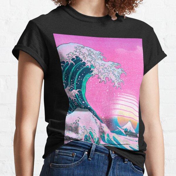 Vaporwave Aesthetic Great Wave Off Kanagawa Retro Sunset Classic T-Shirt