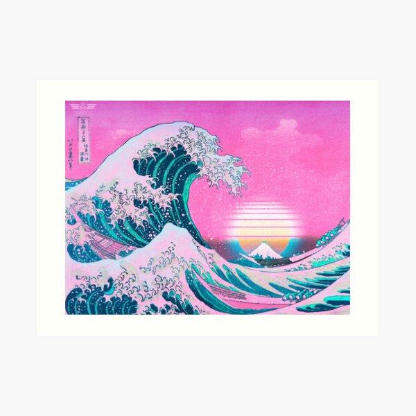 Vaporwave Aesthetic Great Wave Off Kanagawa Retro Sunset Art Print