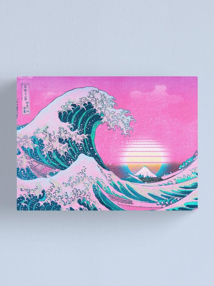 Alternate view of Vaporwave Aesthetic Great Wave Off Kanagawa Retro Sunset Canvas Print