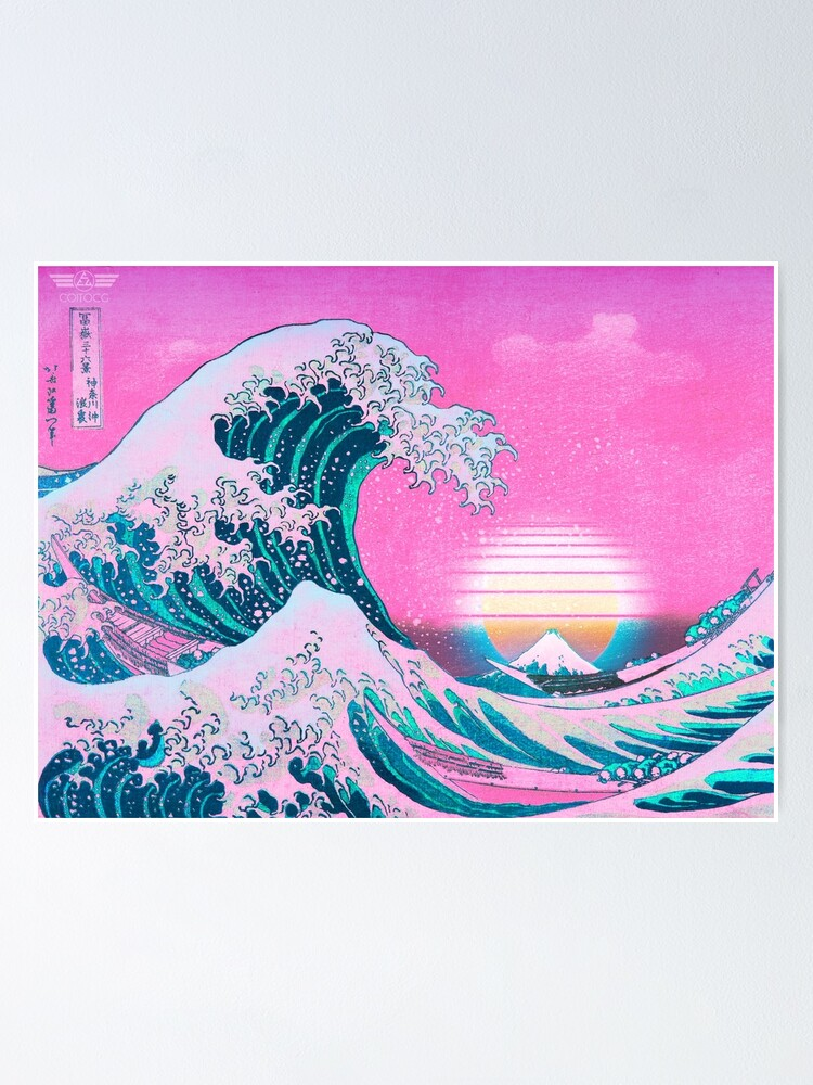 Alternate view of Vaporwave Aesthetic Great Wave Off Kanagawa Retro Sunset Poster