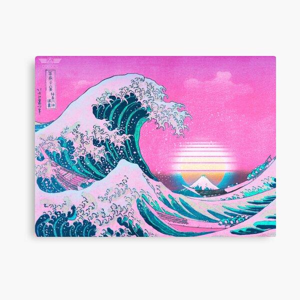 Vaporwave Aesthetic Great Wave Off Kanagawa Retro Sunset Canvas Print