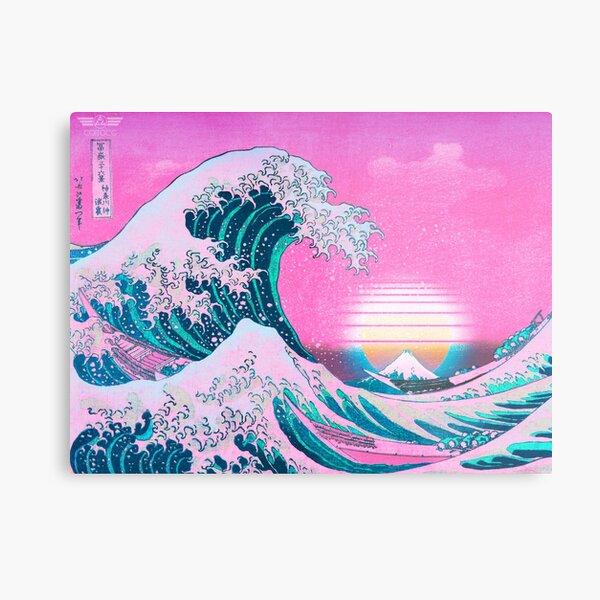 Vaporwave Aesthetic Great Wave Off Kanagawa Retro Sunset Metal Print