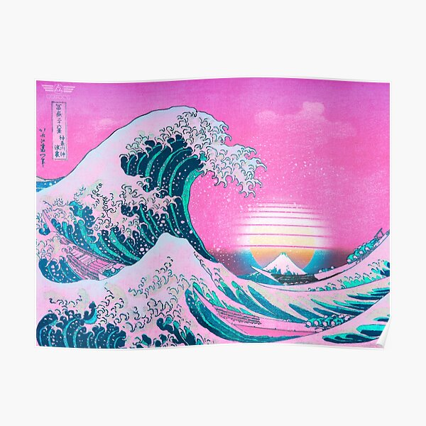 Vaporwave Aesthetic Great Wave Off Kanagawa Retro Sunset Poster