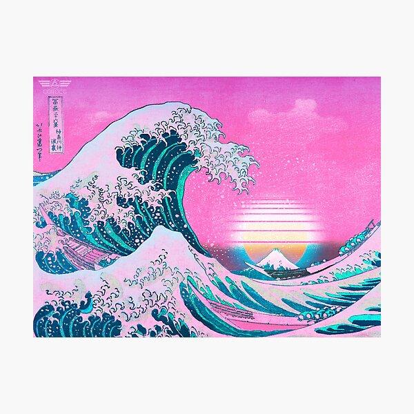 Vaporwave Aesthetic Great Wave Off Kanagawa Retro Sunset Photographic Print