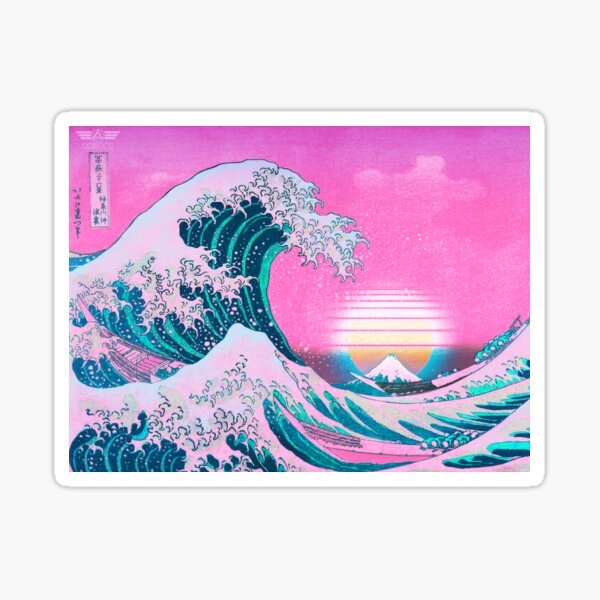 Vaporwave Aesthetic Great Wave Off Kanagawa Retro Sunset Pegatina