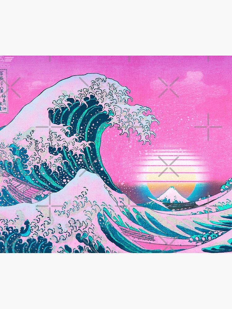 Vaporwave Aesthetic Great Wave Off Kanagawa Retro Sunset by CoitoCG