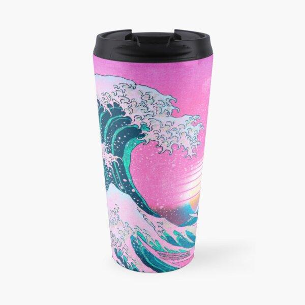 Vaporwave Aesthetic Great Wave Off Kanagawa Retro Sunset Travel Mug