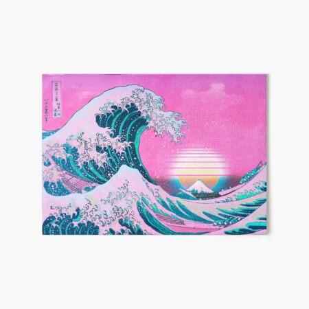 Vaporwave Aesthetic Great Wave Off Kanagawa Retro Sunset Art Board Print