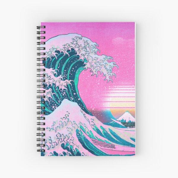 Vaporwave Aesthetic Great Wave Off Kanagawa Retro Sunset Spiral Notebook