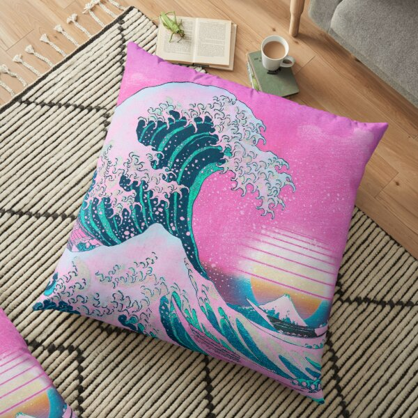 Vaporwave Aesthetic Great Wave Off Kanagawa Retro Sunset Floor Pillow