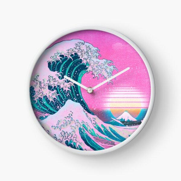 Vaporwave Aesthetic Great Wave Off Kanagawa Retro Sunset Clock