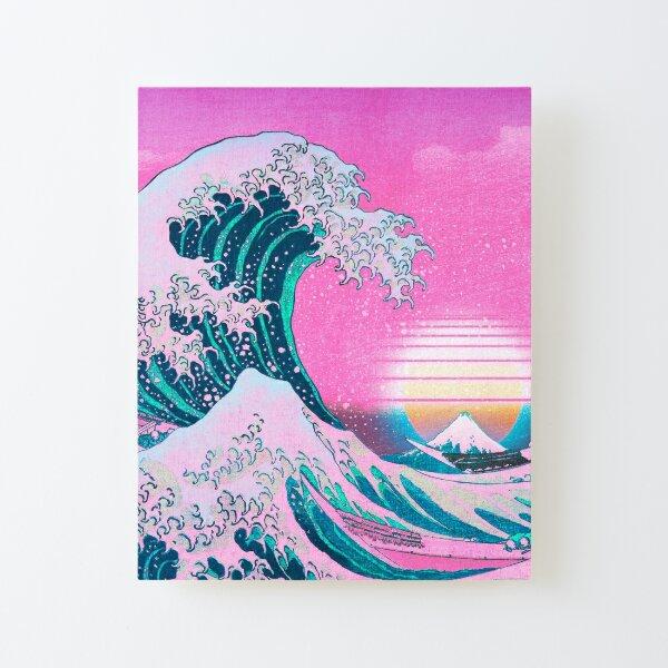 Vaporwave Aesthetic Great Wave Off Kanagawa Retro Sunset Canvas Mounted Print